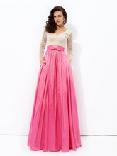Cecelle 2016 Beaded Lace Taffeta Peach Two Tones Modest Bridesmaid Dresses Long Sleeves A-line Women Wedding Party Dresses(China (Mainland))