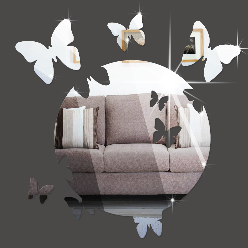 Listed in Stock Mirror Butterfly Wall Decal Sticker Creative Designer Bedroom Kids Room Home Decoration MS361046(China (Mainland))