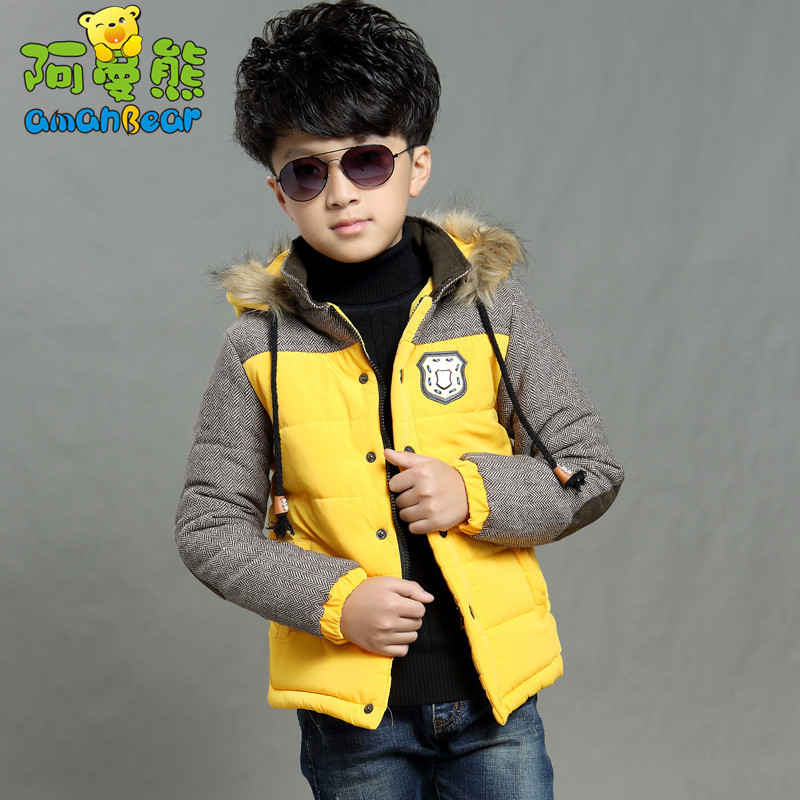 2015 new children's clothing cotton baby boy thick padded jacket warm winter models mixed colors tide A428