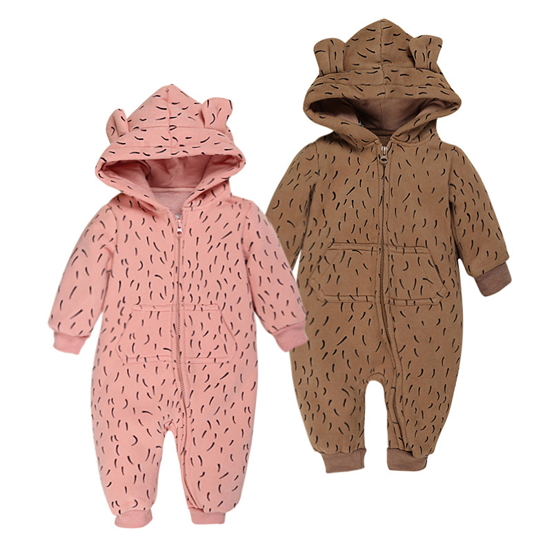 Baby Autum Spring Long Sleeve Hooded Cotton Rompers Sweatshirts Infants boys girls Pink Brown One-Pieces Costume 1pc TZ025<br><br>Aliexpress