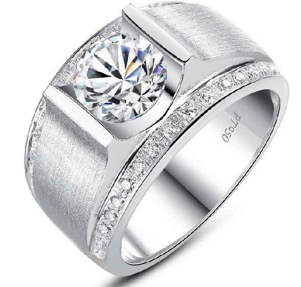 Carat diamant synthétique bande de largeur argent anneau de mariage ...