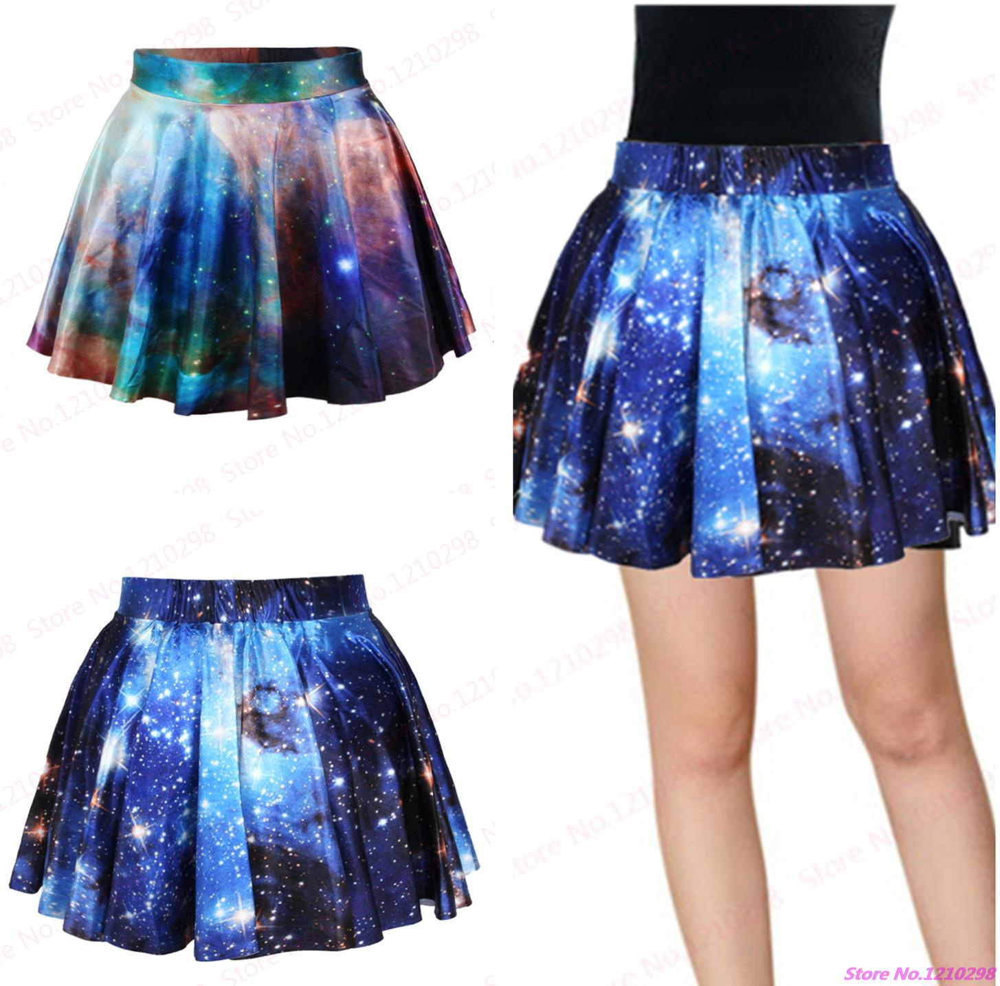 New Running Gym Skirts Pettiskirt Red Starry Pleated Mini Skirt Dance Style Blue Galaxy Tennis Mini