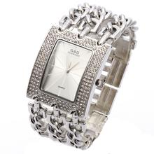 G & D Das Mulheres Relógio de Pulso Relogio feminino Quartz Watch Mulheres Vestido de Strass Relógio Reloj Mujer Luxo Top Marca Original Prata