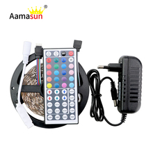 Buy 5050 RGB led strip 5m fita de LED Light 2835SMD led RGB tape diode feed tiras lampada DC12V 3A Power + 44key IR Remoter full set for $8.33 in AliExpress store