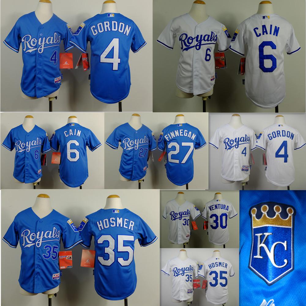 KC Royals Youth jersey Alex Gordon Lorenzo Cain Perez Eric Hosmer jersey Kansas city Royals youth baseball Jerseys Embroidery