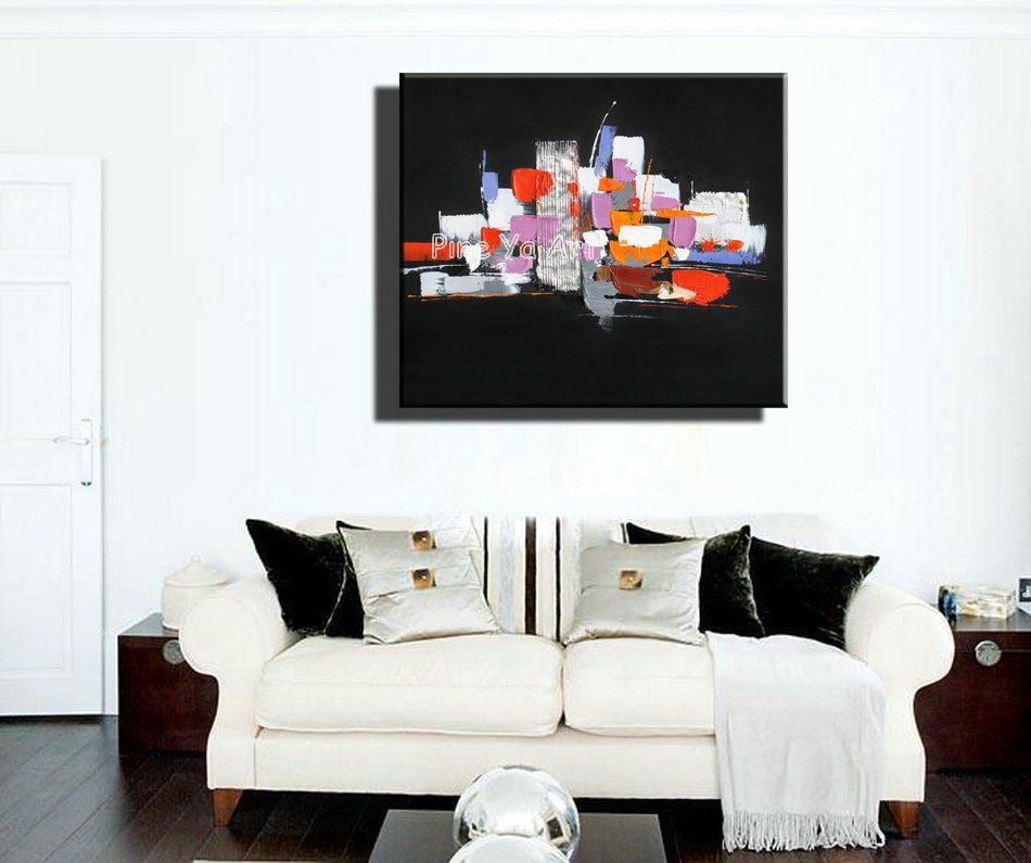 Buy Black Knife paint abstract modern canvas wall decorative handmade picture oil painting on canvas for living room decoration cheap