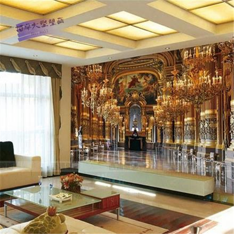Gold background wallpaper tv wallpaper 3d chinese for Decoration cost per m2