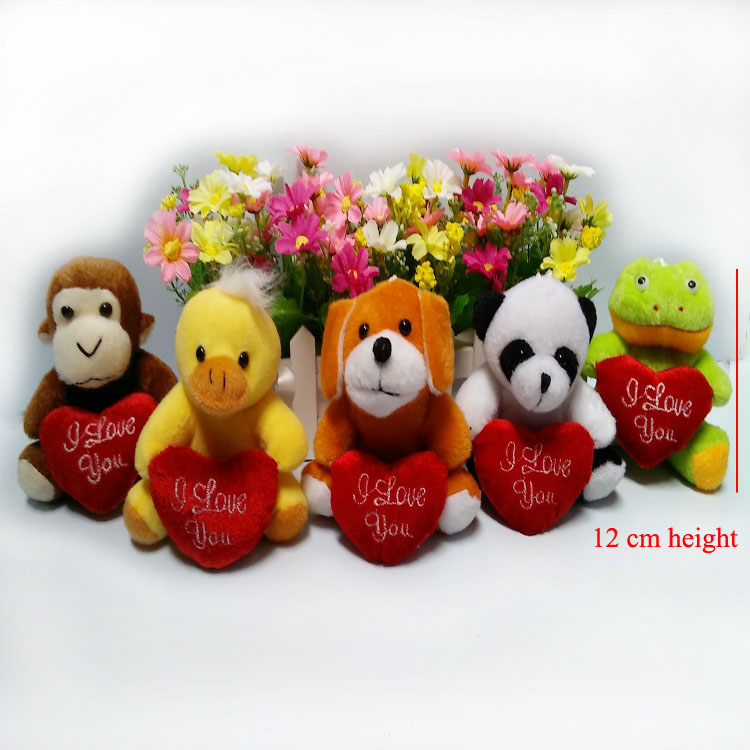 One piece, 12cm, stuffed dog, frog, monkey, panda with I love you heart, 4 animals to choose, Valentines gift with heart(China (Mainland))