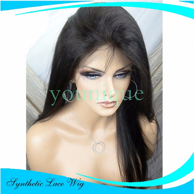 Fashion girls with long straight hair wig Brazil Africa Black women lace front wigs cheap