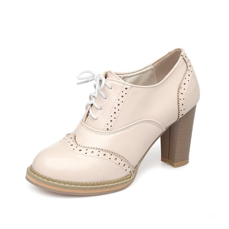 Big size 32-43 women pumps lace thick high heels round toe platform spring autumn dress shoes woman pink white AA316