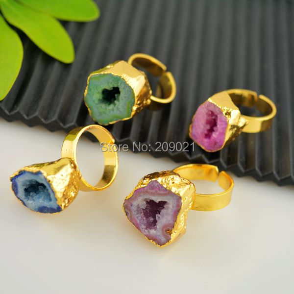 Finding - 4pcs Gold Plated Mixed Color Druzy Drusy Quartz Geode Rings(China (Mainland))