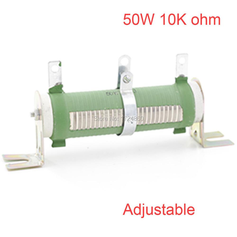 50W 10K ohm Tube Adjustable Rheostat Ceramic Resistor 10K ohm 50W Watt Tube Adjustable Wire Wound 10 K ohm Tube Resistors(China (Mainland))