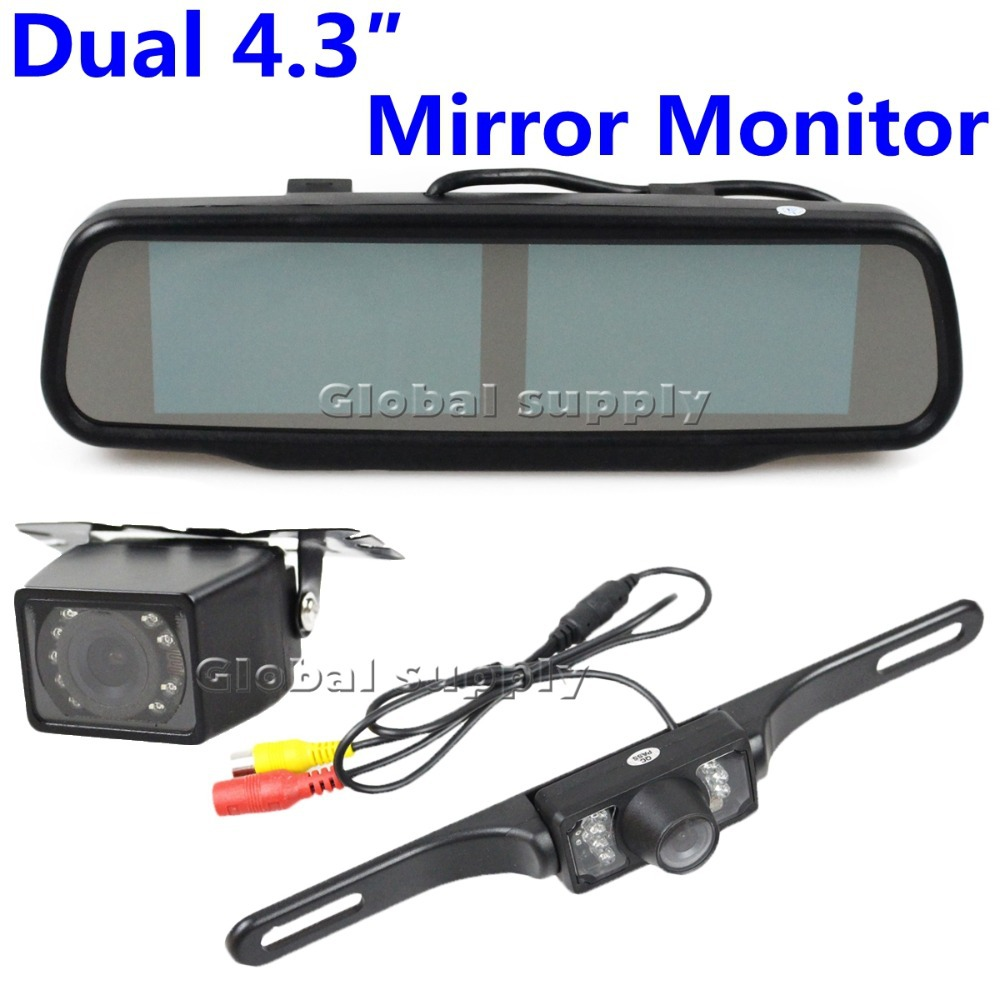 Wholesale Double Screen 4.3 inch TFT LCD Rearview Mirror Monitor + 2 Reversing Waterproof IR Night Vision Backup Camera Kit(China (Mainland))