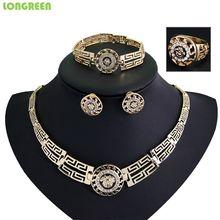 Luxus Gold Schmuck Kristall Wasser Tropfen Frauen Übertreibung Schlüsselbein Halskette Ohrringe Hochzeit Braut Nigeria Dubai Schmuck-Sets(China)