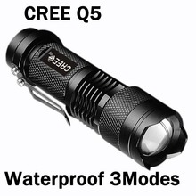 Waterproof CREE Q5 Led Flashlight 7W Camping Lantern Torch Lamp 2000 Lumens 3-Mode Adjustable Flashlight Zoomable 14500/AA ZK91(China (Mainland))