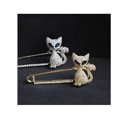 Nice Fashion Jewelry Gold Plated Animal Brooch,Green Eye Crystal Cat Brooches A101 - Ornaments made of crystal and diamond are shining gleaming store