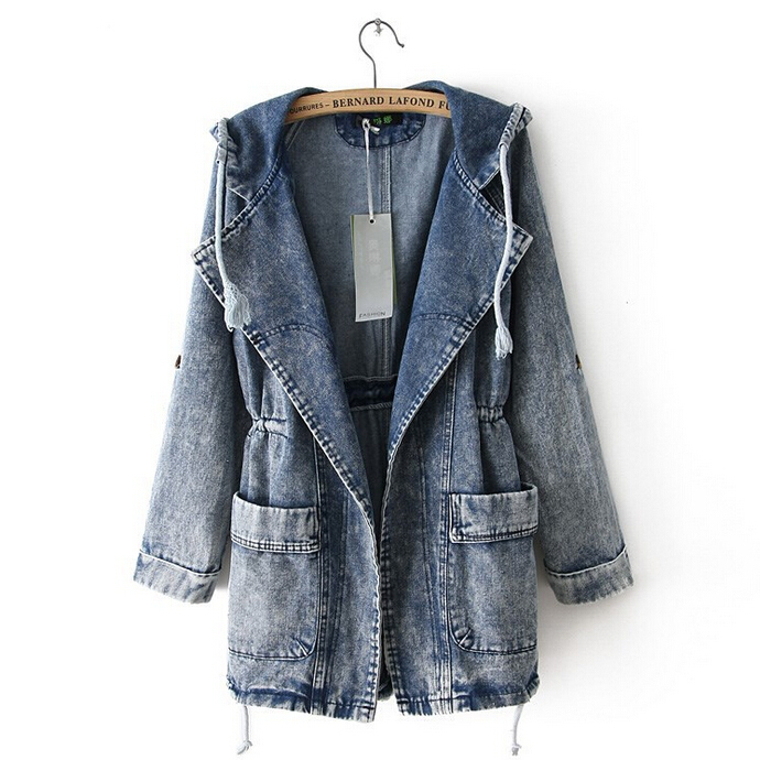 Denim Jacket Women Jeans Coat Hooded Open Placket 2015 New Fashion One Size Fits AllОдежда и ак�е��уары<br><br><br>Aliexpress