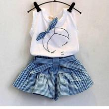 New 2016 brand summer baby girl clothing sets fashion Cotton print shortsleeve T-shirt and skirts girls clothes sport suits(China (Mainland))
