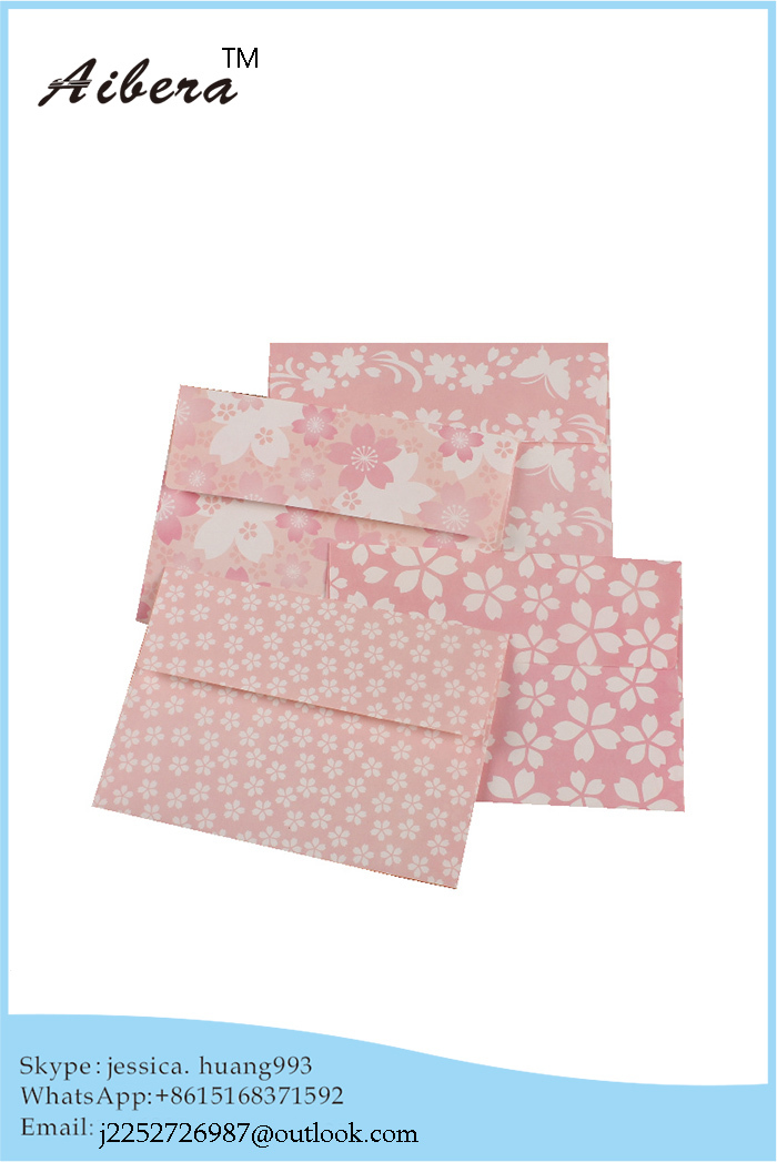 Latest fancy Recycled cheap print customized lovely handmade size paper presentation envelope(China (Mainland))