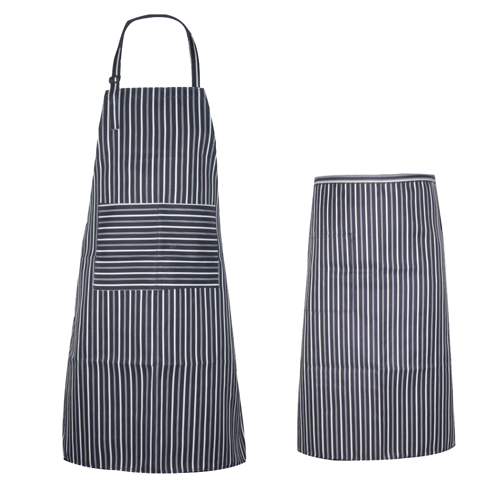 Waterproof Oilproof Stripe Bib Women Men Apron Korean Waiter Aprons With Pockets Restaurant Kitchen Cooking Shop Art Work Apron(China (Mainland))