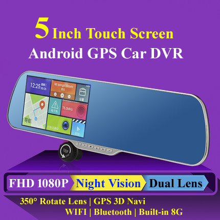 New 5'' Android GPS Navi 8G WiFi FM 1080P parking camcorder Rearview mirror video recorder night vision car dvr camera Dual lens(China (Mainland))