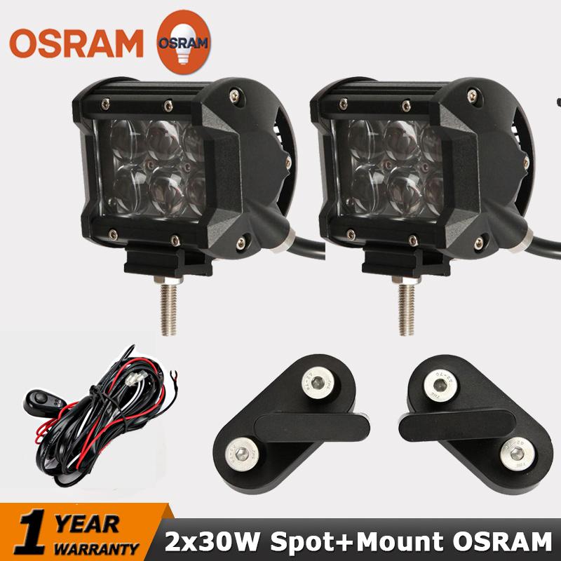 30W OSRAM LED Work Light Bar+Mount Bracket Spot Beam 4x4 Offroad Led Driving Light 12/24V Truck SUV ATV 4WD Headlight For Jeep<br><br>Aliexpress
