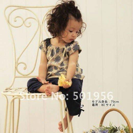 Flower 2016 Newest girls Clothes set Girls summer sets 100%cotton girls wear Free shipping