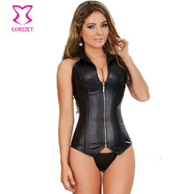 Black Sexy Faux Leather Corsets And Bustiers Steel Boned Corset Steampunk Corselet Overbust Halter-neck Gothic Corpete With Zip