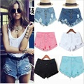 2016 Summer new arrival ladies high waist short jeans fashion manual ripped broken hole single breasted