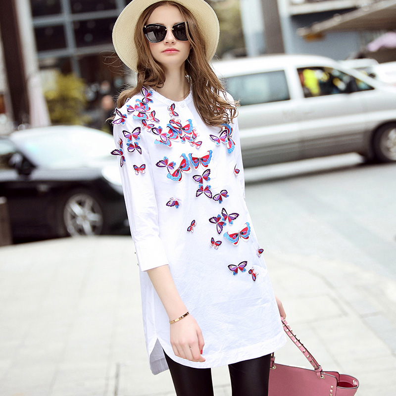 designer boutique 2016 women spring summer fashion runway white slim long ladies work butter embroidery casual maxi shirtОдежда и ак�е��уары<br><br><br>Aliexpress