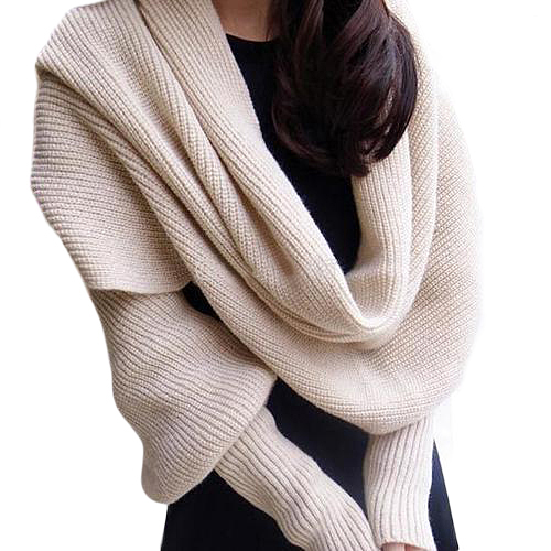 Women Solid Scarf With Sleeve Crochet Knit Long Soft Winter Shawl Scarves Retail/Wholesale 598V(China (Mainland))
