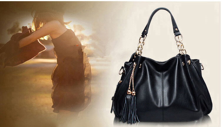 New arrival meseenger pu leather bag tassel one shoulder fashion and personality women's handbag and purses leather WFCHB00435(China (Mainland))