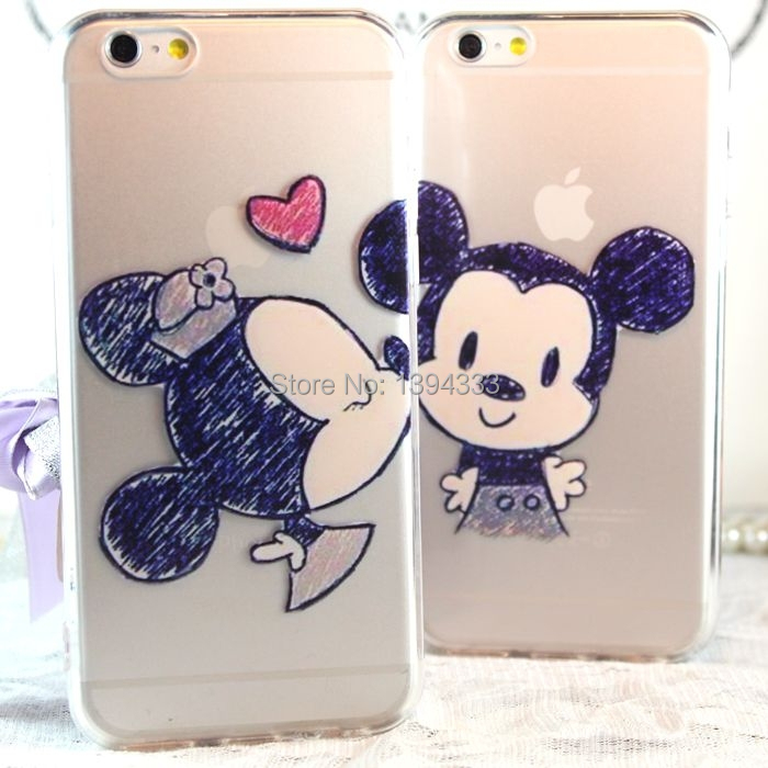 New Minnie Mickey Mouse Cartoon couple kissing TPU Case Back Cover For iphone 5 5S 6 4.7 plus 5.5 inch Cell phone For Apple 4 4s(China (Mainland))