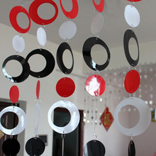 Colored plastic curtain, children's room, cartoon decorative curtain, black  white and red hanging ring, free shipping(China (Mainland))