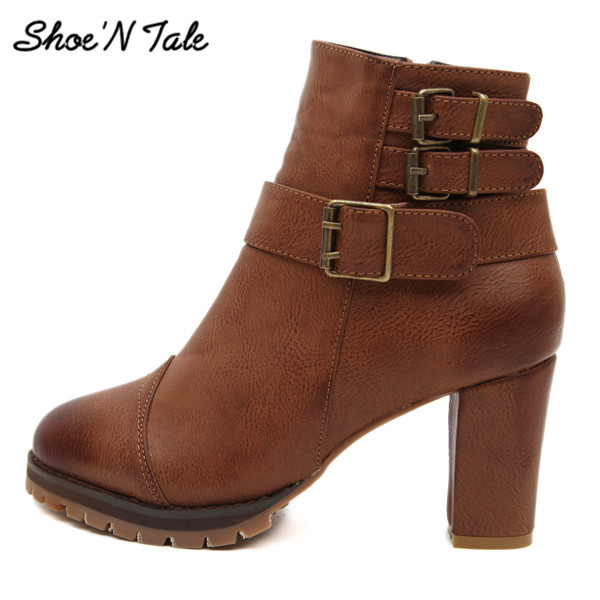 Shoe'N Tale High Heel Ankle Boots Fashion Round Toe Martin boots Chelsea Snow Boots