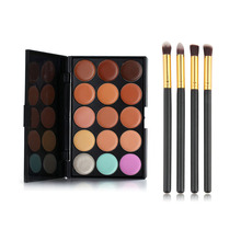 4Pcs Eyeshadow Foundation Blush Brush +1Pc 15 Color Cosmetic Cream Concealer Palette Combination For Eye Makeup FE#8