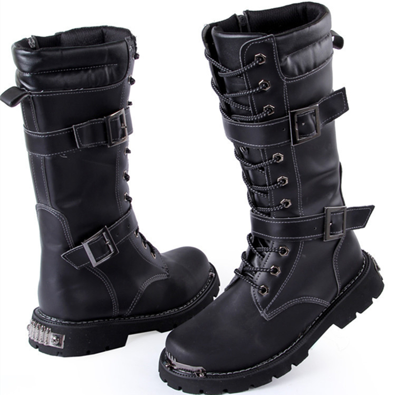 Black Short Military Casual Boots Shoes For Mens