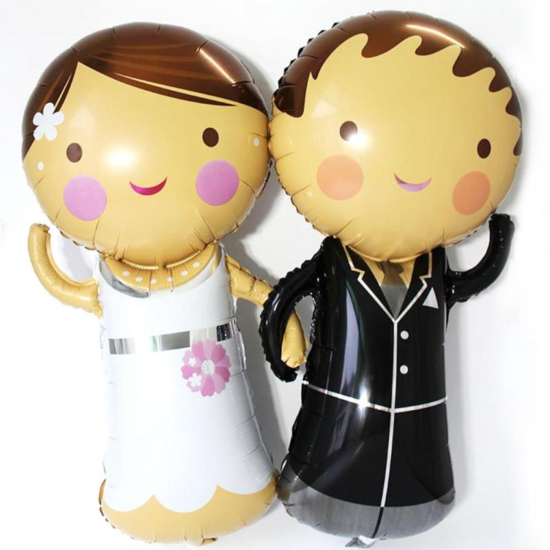 1 Pc Wedding Balloon Foil Balloons Bridegroom and Bride Balloons For Wedding Birthdays Party Valentine Day Decoration s5(China (Mainland))