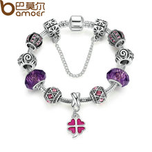 BAMOER Safety Chain Silver Color Charms Bracelet with Purple Glass Beads & Pink Clover DIY Bracelet for Women Jewelry PA1498(China (Mainland))