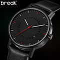 Break Men Unique Minimalist Simple Luxury Leather Strap Sapphire Quartz Dress Business Fashion Hot Popular Brand