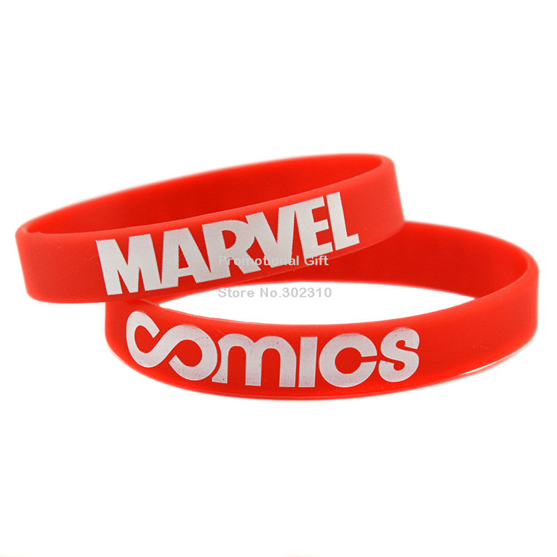 100PCS/Lot Cheap Printed COMICS Marvel Silicon Bracelet Wristband for Promotional Gift(China (Mainland))