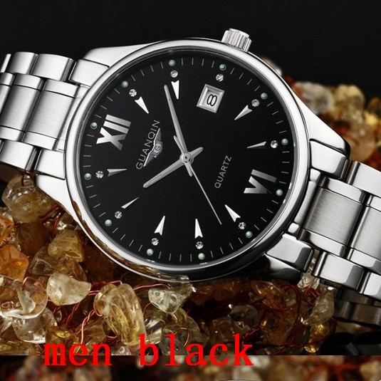 2015 new lovers wristwatches men luxury brand silver full steel Casual Quartz watch sapphire lady High quality waterproof(China (Mainland))