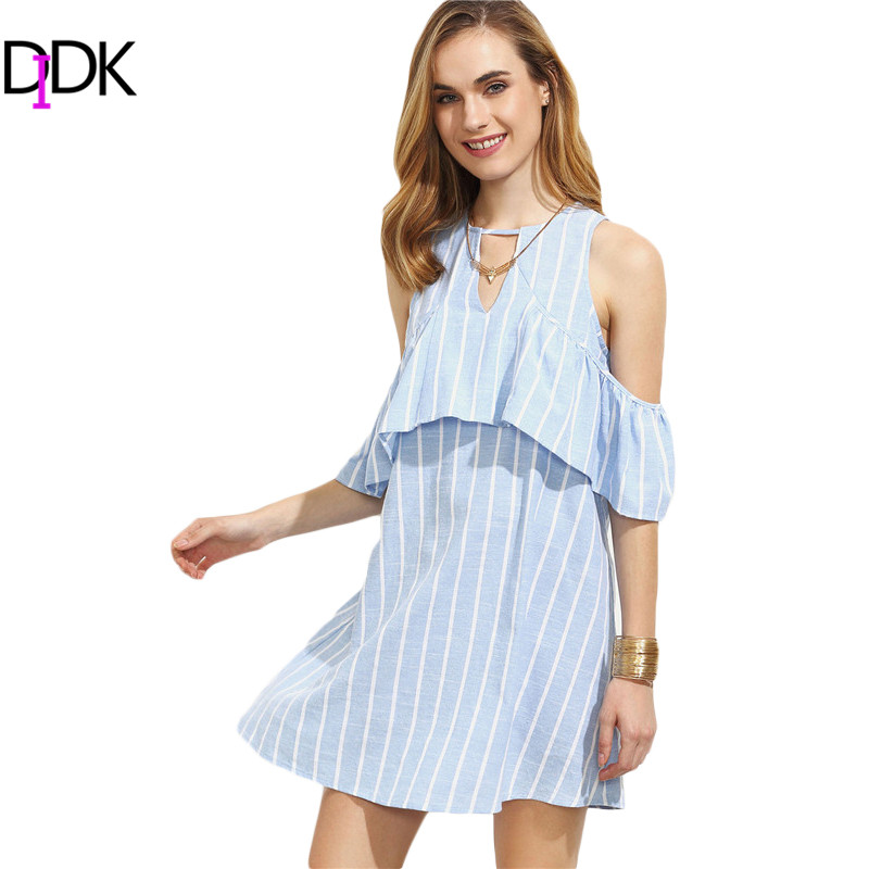 DIDK Blue Vertical Striped Cutout Ruffle Cold Shoulder Dresses Womens Summer Half Sleeve Hollow Out Casual Shift Dress(China (Mainland))
