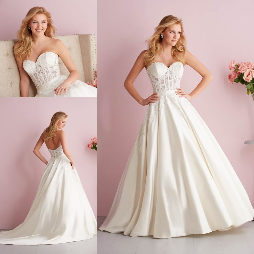 Elegant Sweetheart Neck Lace Top See Through Corset Wedding Dresses With Pockets 2015(China (Mainland))