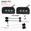 2PC EJEAS TTS Dual Bluetooth Intercom Motorcycle Helmet BT Headset Kit Max 4Riders Moto Interphone Communication