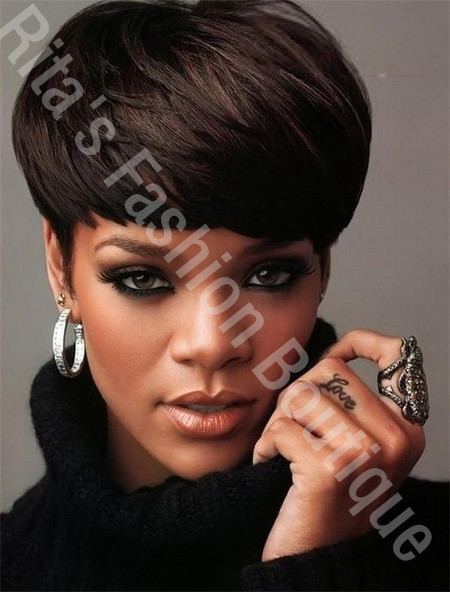 real hair hairstyles : Top Quality Charming Short Straight Hairstyle Rihannas Real Hair Wigs ...