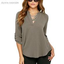 2016 Feminine Blouse Sexy V Neck Chiffon Long Sleeve Women's Blouses Shirt 7 Colors 5XL Plus Size Blusas