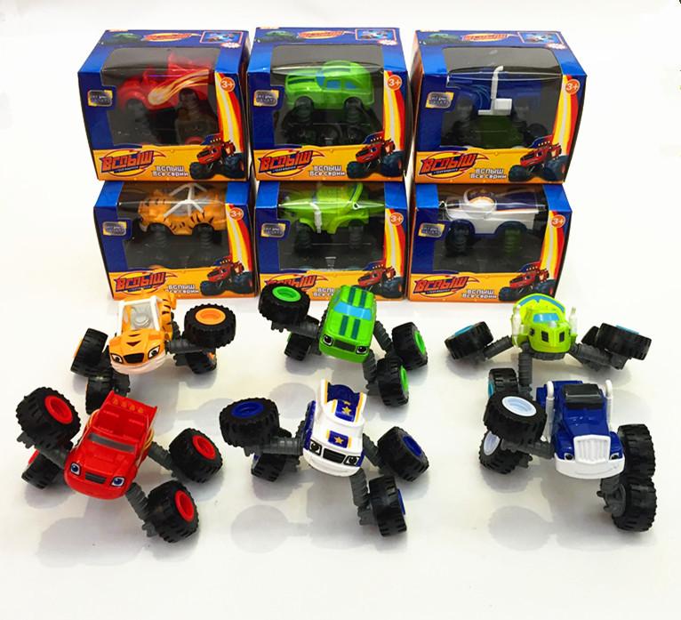 Free shipping 6pcs/set Blaze Monster Machines Toys Deformation Car Toys For Kids Boys Car(China (Mainland))