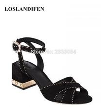 LOSLANDIFEN 2018 Brand New Runway Sandals Sapatos Femininos Real Photos  Elegant Ankle Strappy Party Wedding Heels Women Shoes 928f39cf3d26