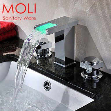 Temperature sensor led faucet 3 color water double handle waterfall bathroom tap(China (Mainland))
